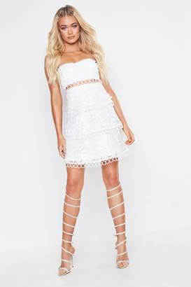boohoo Premium Bandeau Lace Tiered Skater Dress