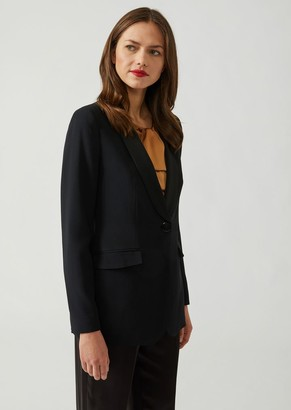 Emporio Armani Single-Breasted Blazer In Cady With Matching Satin Lapels
