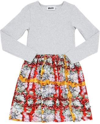 Molo RIBBED COTTON & SWEATSHIRT DRESS