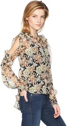 The Kooples Women's Women's Open Shoulder Sheer Floral Print Top
