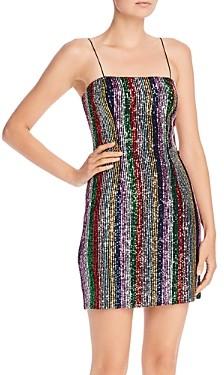 Milly Kaia Rainbow Stripe Sequin Mini Dress