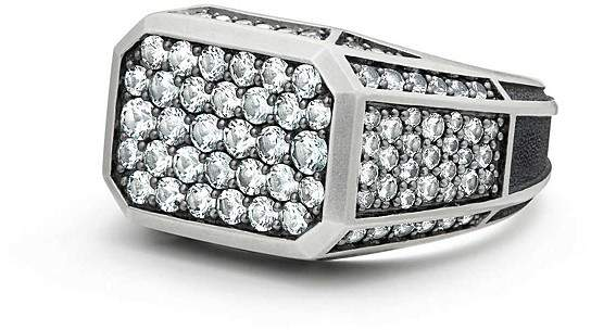 David Yurman Exotic Stone Streamline Pavé Signet Ring with Gray Sapphire