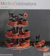 Martha Stewart Halloween Black & Orange Cupcake Treat Stand 12x15x12 Nip