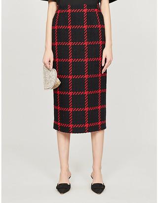 Alessandra Rich Check-print high-waist tweed skirt