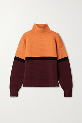 NAGNATA Net Sustain Color-block Ribbed Organic Cotton Turtleneck Sweater - Orange