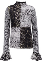 Roberto Cavalli Ruffled jacquard-knit turtleneck sweater