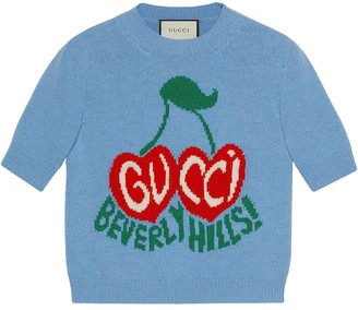 Gucci Beverly Hills cherries intarsia-knit top