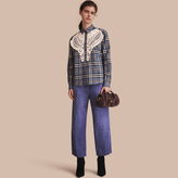Burberry Lace Appliqué Check Cotton Shirt