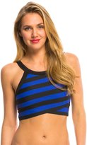 DKNY Iconic Stripes High Neck Crop Bikini Top 8131678