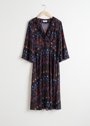 And other stories Plunging Printed Midi Dress