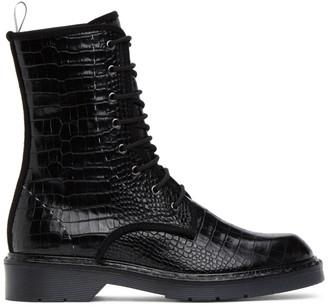 Max Mara Black Croc Bon Ankle Boots