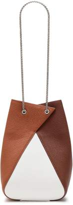 THE VOLON Chain-embellished Color-block Textured-leather Bucket Bag