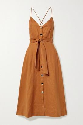 Nicholas Orissa Belted Linen Midi Dress - Saffron