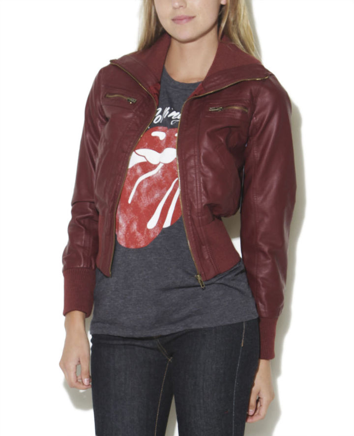 Wet Seal Faux-Leather Bomber Jacket