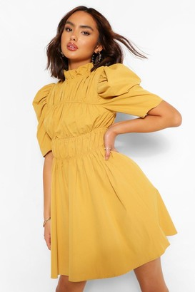 boohoo High Neck Rouched Detail Puff Sleeve Skater Dress