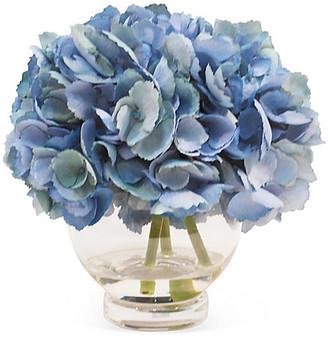 "11"" Hydrangea in Vase - Faux - The French Bee - arrangement, blue; vessel, clear"