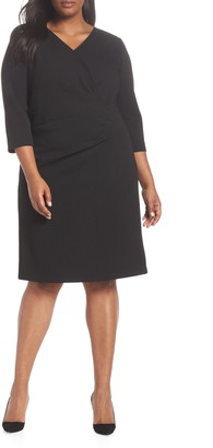 Tahari Ruched Surplice Crepe Sheath Dress