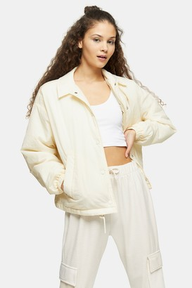 Topshop Womens Cream Quilted Shell Jacket - Cream