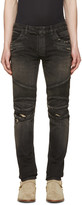 Balmain Black Distressed Biker Rib Jeans