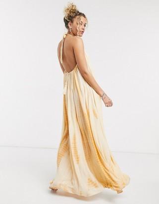 ASOS DESIGN plait neck trapeze rust tie dye metallic maxi beach dress