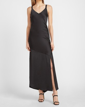 Express Satin V-Neck Midi Slip Dress