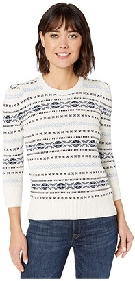 Lauren Ralph Lauren Super Soft Cotton 3/4 Sleeve Cardigan (Mascarpone Cream Multi) Women's Clothing