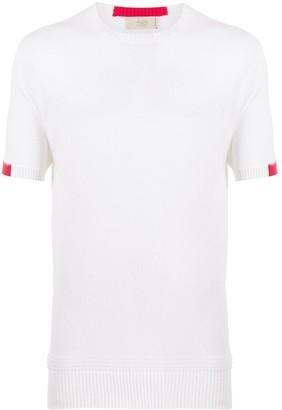 Maison Flaneur contrast-cuff knitted T-shirt