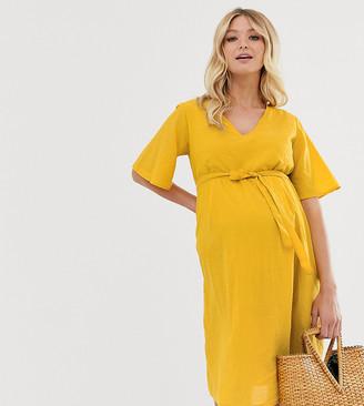 Mama Licious Mama.Licious Mamalicious flutter sleeve midi dress-Yellow