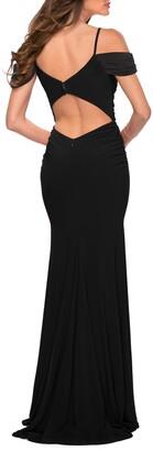 La Femme Matte Jersey Sheath Gown