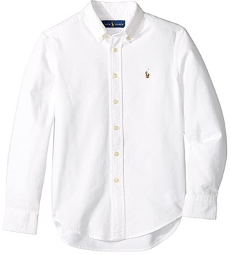 Polo Ralph Lauren Kids Cotton Oxford Sport Shirt (Big Kids) (White) Boy's Long Sleeve Button Up