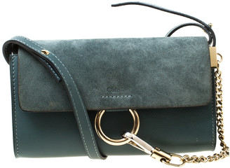 Chloé Blue Leather and Suede Mini Faye Shoulder Bag