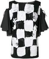 Tsumori Chisato off-shoulder square print blouse