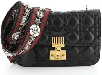Christian Dior Dioraddict Flap Bag with Strap Cannage Quilt Lambskin Medium