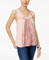 Gypsies & Moondust Juniors' Lace-Front Ruffle Tank Top