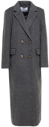 Ganni Double-breasted Checked Wool-blend Felt Coat