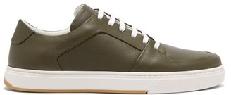 Bottega Veneta Seamless Leather Trainers - Mens - Khaki