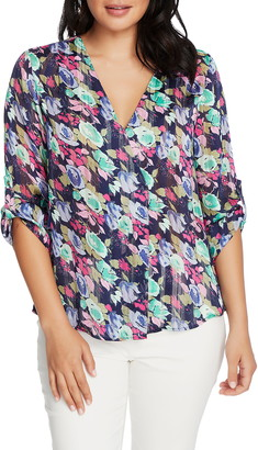 Chaus Floral Shadow Stripe V-Neck Top