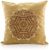 Gisy Earth Mandala Embroidered Peanut Brown Canvas Pillow