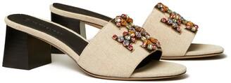 Tory Burch Ines Embellished Mid-Heel Slide