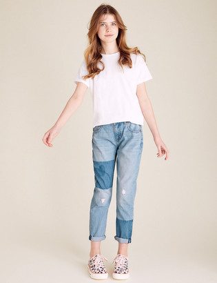 Marks and Spencer Mom Fit Denim Patchwork Jeans (6-16 Yrs)