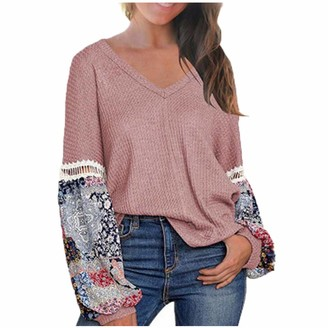 Lazzboy Store Lazzboy Pullover Womens Lantern Long Sleeve Top V Neck Solid Patchwork Paisley Print Casual Loose Slouch Lagenlook Ladies Jumper Blouse Plus Size (26