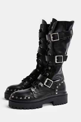 Topshop Womens Asteroid Black Leather Chunky Lace Up Calf Boots - Black