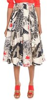Donna Karan Street Art Printed Pleated Skirt
