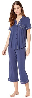 Kate Spade Goodnight Modal Jersey Capris Pajama Set (Navy) Women's Pajama Sets