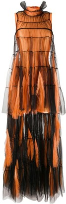 Loulou Fringe Detail Asymmetric Evening Dress