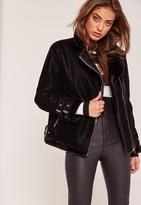Missguided Petite Faux Fur Lined Pilot Jacket Black