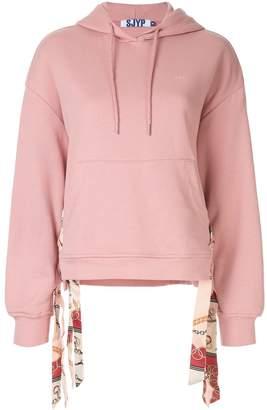 Sjyp scarf detailed hoodie