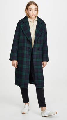 AVEC LES FILLES Double Face Plaid Raglan Coat