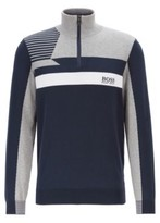 Boss Colour-block zip-kneck sweater with water-repellent finish