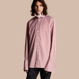 Burberry Ruff Collar Striped Cotton Shirt